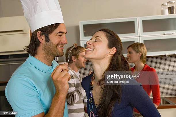 Couples in the kitchen.