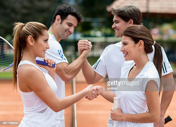 couples playing tennis - doubles sports competition format stock pictures, royalty-free photos & images