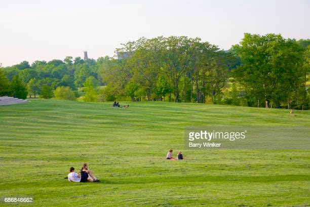 Couples relaxing in Forest Park, St. Louis, MO