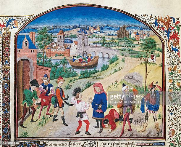 Courage and cowardice miniature from Ethics Politics the Economy by Aristotle folio 29 verso France 14521457