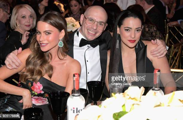 Courage Award recipient Sofia Vergara Pitbull and Natalie Martinez attend WCRF's An Unforgettable Evening Presented by Saks Fifth Avenue on February...