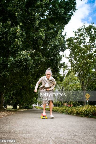 Courageous Grandma Skateboarding