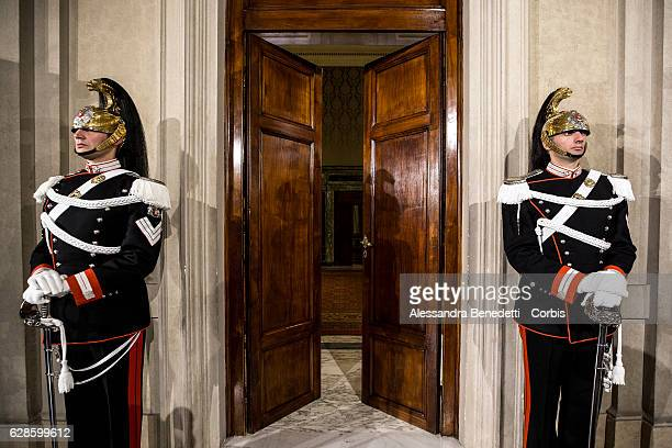 Courassier presidential guards stand in front of Italian President Sergio Mattarella studio during the first day of talks with political parties at...