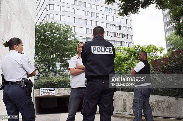 Policemen stand guard 02 July 2007 at the entrance of the garage where Brahim Deby son of Chadian President Idriss Deby was found dead 02 July 2007...