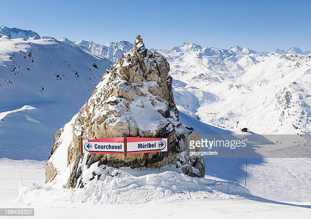 courchevel and meribel ski signs - courchevel stock pictures, royalty-free photos & images
