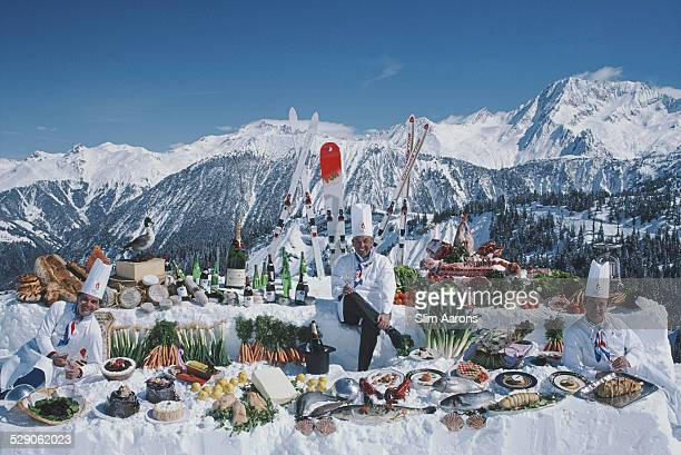 Courchevel restaurant chefs Jean Jacob of 'Le Bateau Ivre' Michel Rochedy of 'Le Chabichou' and Albert Parveaux of 'Pralong 2000' Courchevel France...