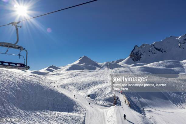 courchevel ski station - trois vallees stock pictures, royalty-free photos & images