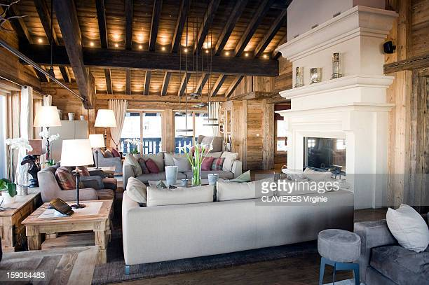 Courchevel the ski resort the most luxurious in French Alps the spacious living room of the luxury chalet Edelweiss