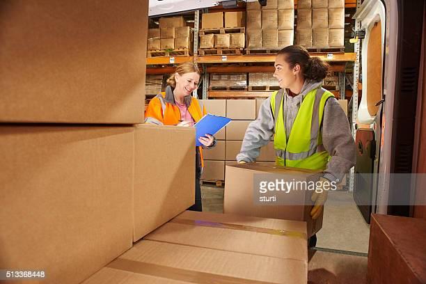 courier filling her van