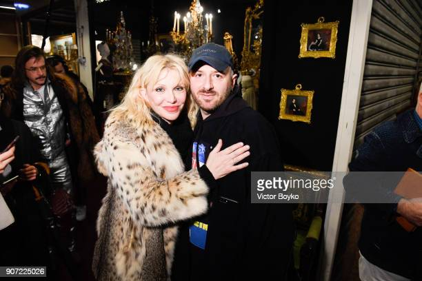 Courney Love and Demna Gvasalia attend the Vetements Menswear Fall/Winter 2018-2019 show as part of Paris Fashion Week on January 19, 2018 in Paris,...