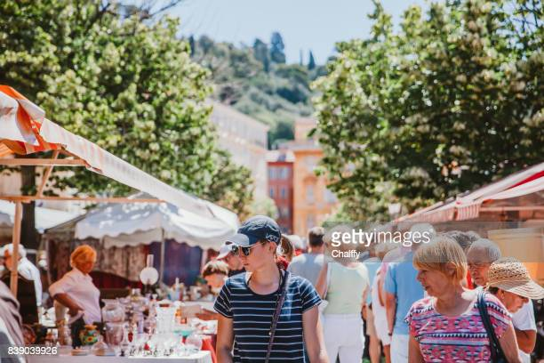 cours saleya, nice, french riviera - alpes maritimes stock pictures, royalty-free photos & images