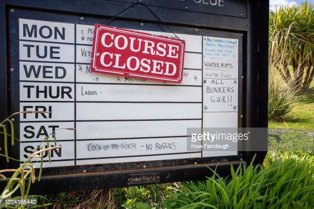 Course closed sign displayed at the entry to the Blackwood Golf Club House. Golf restrictions have been eased in England but remain in Wales on May...
