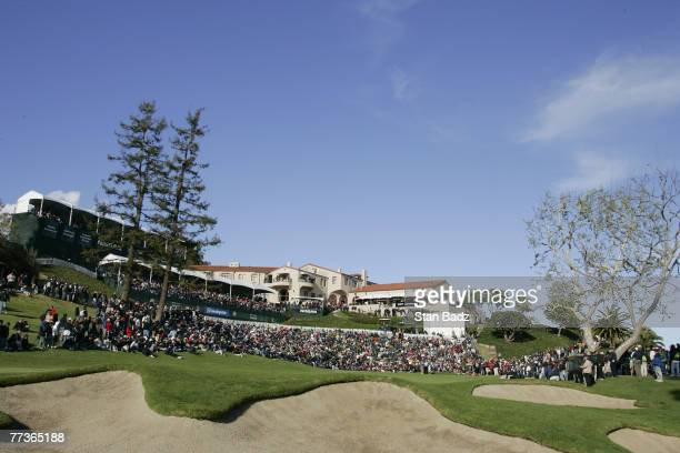 Course scenic of the 18th green during the fourth and final round of the Nissan Open held at Riviera Country Club in Pacific Palisades, California,...