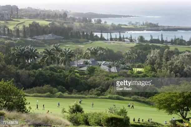 Course scenic of the 18th hole during third round of the Mercedes Championships, January 7 held at The Plantation Course at Kapalua, Maui, Hawaii....