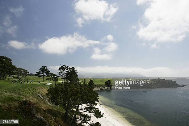 Course scenic of the 5th hole during the second round of the WalMart First Tee Open at Pebble Beach held at Pebble Beach Golf Links in Pebble Beach...
