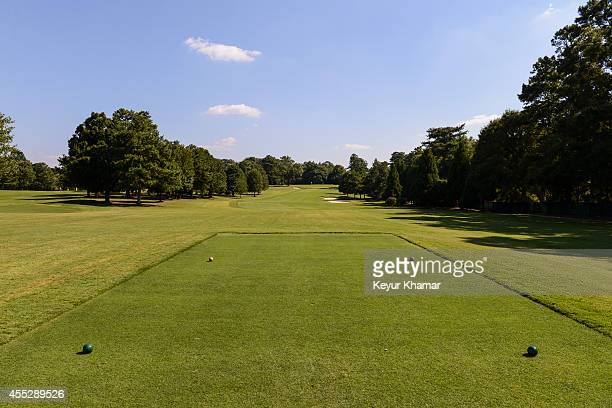 Course scenic of the fourth hole tee box at East Lake Golf Club on August 27, 2014 in Atlanta, Georgia. East Lake is the venue of the TOUR...