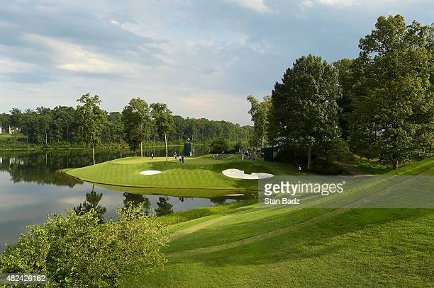 Course scenic shot of the 11th hole during the first round of the Quicken Loans National at Robert Trent Jones Golf Course on July 30, 2015 in...