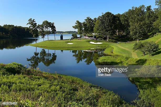 Course scenic shot of the 11th hole during the second round of the Quicken Loans National at Robert Trent Jones Golf Course on July 31, 2015 in...