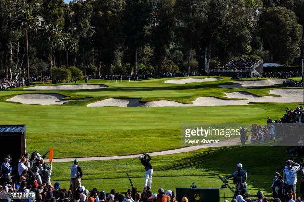 Course scenic view as Cody Gribble tees off on the 10th hole during the third of the Genesis Open at Riviera Country Club on February 16, 2019 in...