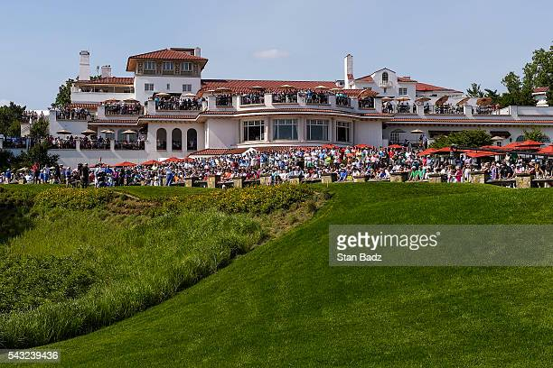A course scenic view as fans watch Ernie Els of South Africa tee off on the 10th hole from the clubhouse during the final round of the Quicken Loans...