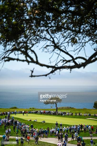 Course scenic view as fans watch the group of Brooks Koepka, Justin Thomas and Collin Morikawa on the fifth hole green during the first round of the...