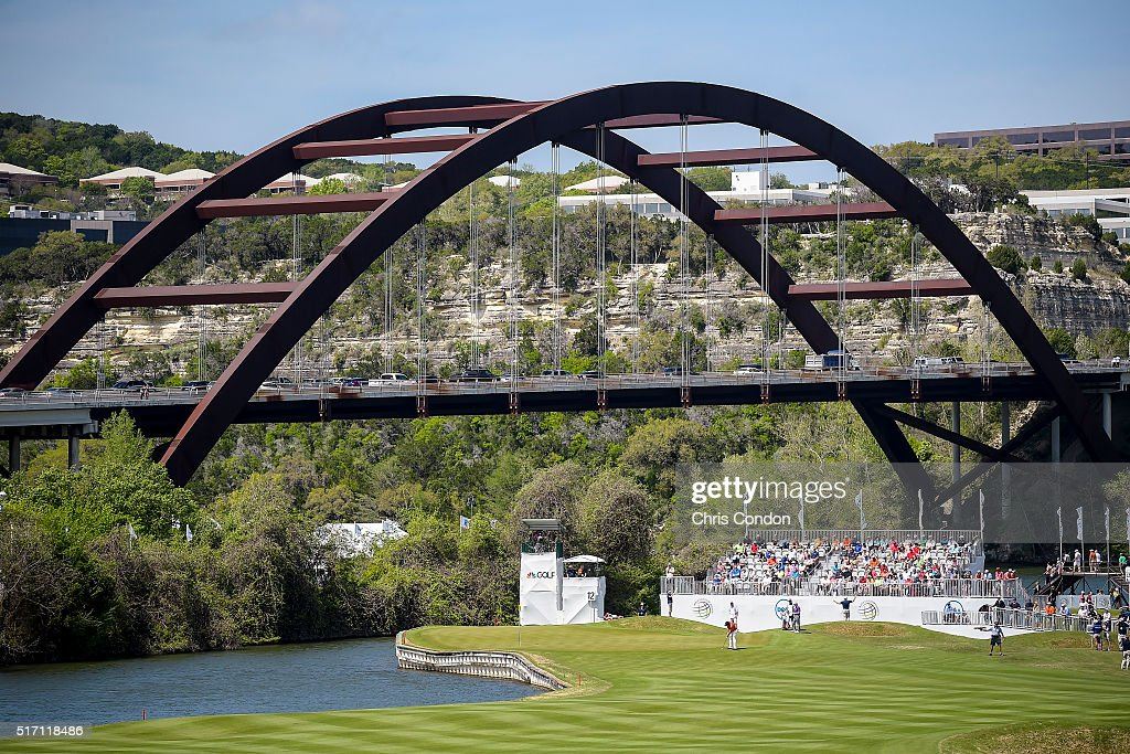 A course scenic view as Phil Mickelson putts for birdie on the 12th hole green during the first round of the World Golf Championships - Dell Match Play at Austin Country Club on March 23, 2016 in Austin, Texas.