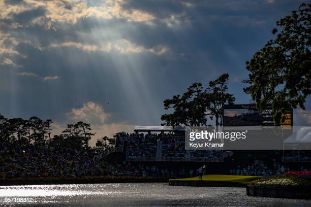A course scenic view as sun beams are seen beyond the 17th hole during the first round of THE PLAYERS Championship on THE PLAYERS Stadium Course at...