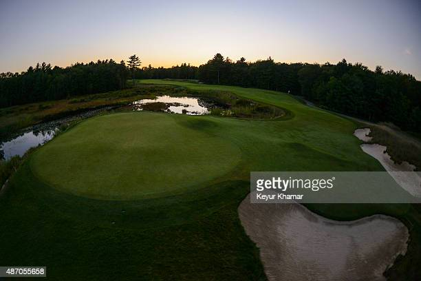 Course scenic view as the sun sets behind the par 5 second hole during the second round of the Deutsche Bank Championship at TPC Boston on September...