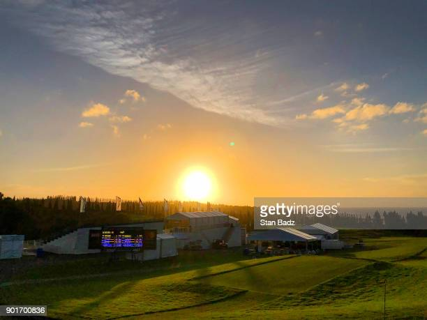 Course scenic view at sunset on the first hole during the second round of the Sentry Tournament of Champions at Plantation Course at Kapalua on...