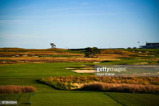 Course scenic view from the fourth hole tee box during media day for the 2018 U.S. Open Championship at Shinnecock Hills Golf Club on October 4 in...