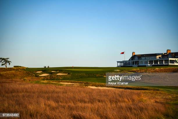 Course scenic view from the ninth hole tee box and of the clubhouse during media day for the 2018 U.S. Open Championship at Shinnecock Hills Golf...