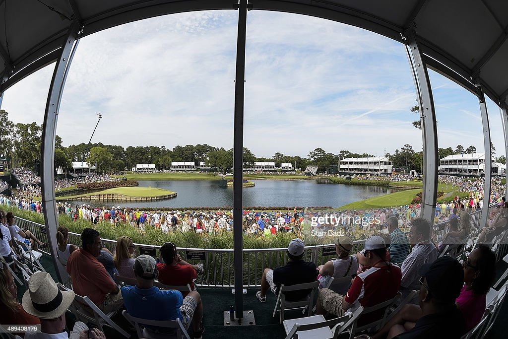 A course scenic view of fans watching the action from a hospitality tent overlooking the 17th hole during the third round of THE PLAYERS Championship on THE PLAYERS Stadium Course at TPC Sawgrass on May 10, 2014 in Ponte Vedra Beach, Florida.