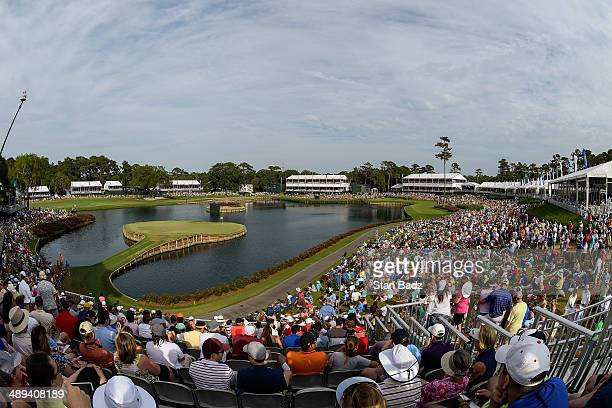 A course scenic view of fans watching the action on the 17th hole island green during the third round of THE PLAYERS Championship on THE PLAYERS...