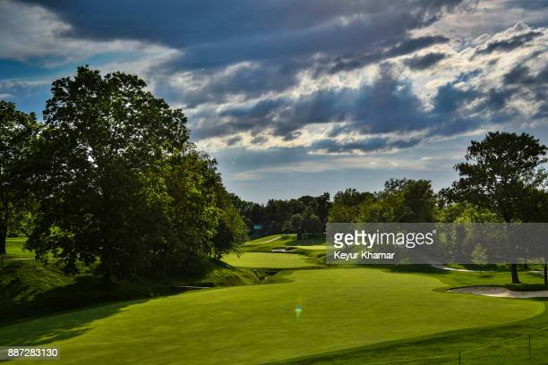 A course scenic view of the 11th hole fairway during practice for the Memorial Tournament presented by Nationwide at Muirfield Village Golf Club on...