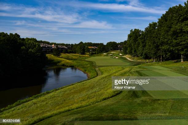 Course scenic view of the 13th hole tee box during practice for the Quicken Loans National at TPC Potomac at Avenel Farm on June 28, 2017 in Potomac,...