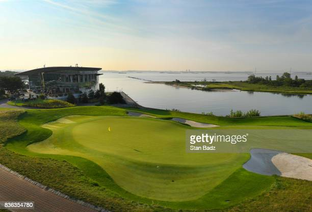 A course scenic view of the 14th hole during course previews at Liberty National Golf Club host course of the 2017 Presidents Cup in Jersey City New...