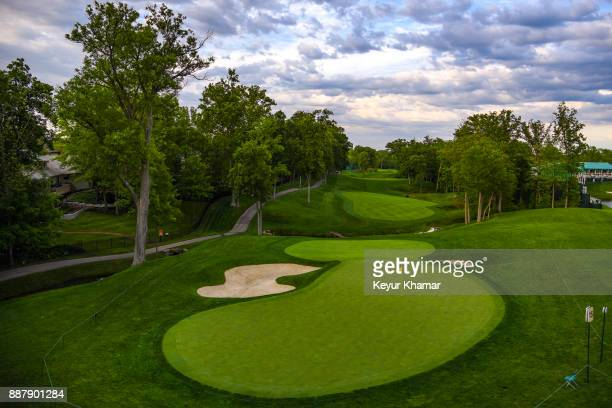 A course scenic view of the 15th hole green during practice for the Memorial Tournament presented by Nationwide at Muirfield Village Golf Club on May...