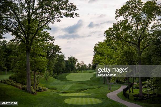 Course scenic view of the 15th hole tee box during practice for the Memorial Tournament presented by Nationwide at Muirfield Village Golf Club on May...
