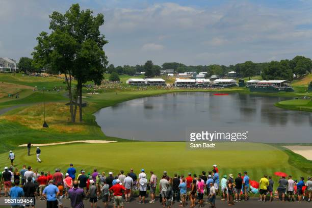 A course scenic view of the 16th hole during the final round of the Travelers Championship at TPC River Highlands on June 24 2018 in Cromwell...
