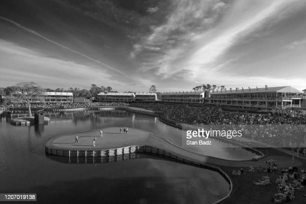 Course scenic view of the 17th hole during the first round of THE PLAYERS Championship on THE PLAYERS Stadium Course at TPC Sawgrass on March 12 in...