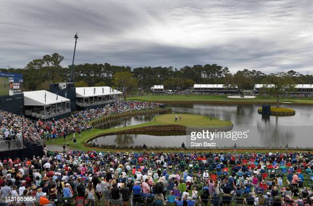 A course scenic view of the 17th hole during the third round of THE PLAYERS Championship on THE PLAYERS Stadium Course at TPC Sawgrass on March 16 in...