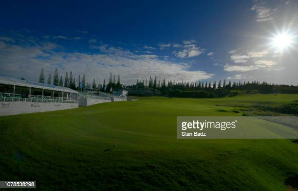 Course scenic view of the 18th hole at sunrise during the final round of the Sentry Tournament of Champions on Plantation Course at Kapalua on...