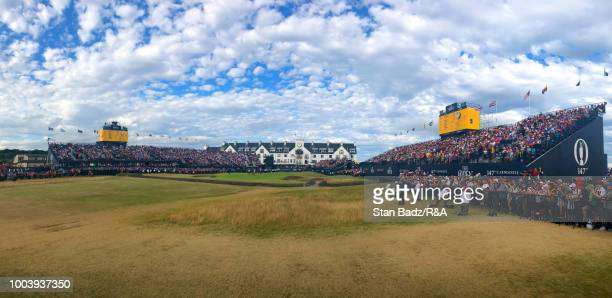A course scenic view of the 18th hole during the final round of the 147th Open Championship at Carnoustie Golf Club on July 22 2018 in Angus Scotland