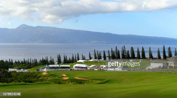 Course scenic view of the 18th hole during the final round of the Sentry Tournament of Champions on Plantation Course at Kapalua on January 6, 2019...