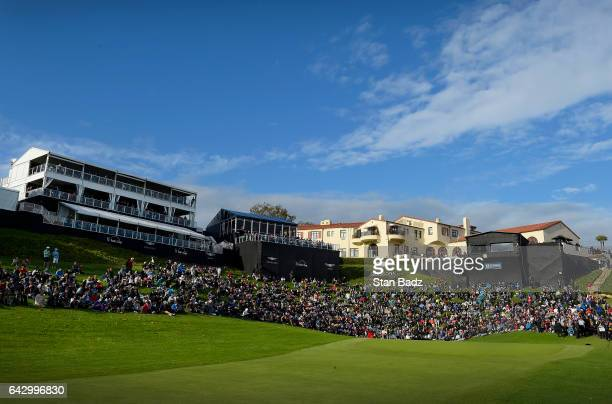 Course scenic view of the 18th hole during the final round of the Genesis Open at Riviera Country Club on February 19, 2017 in Pacific Palisades,...