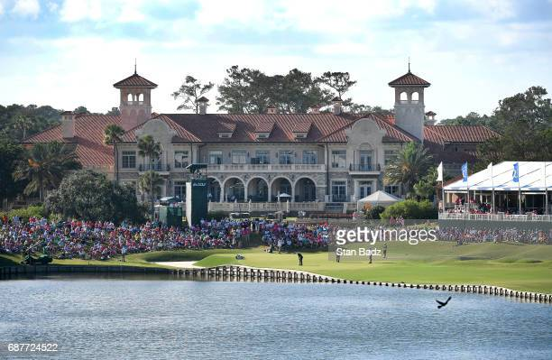A course scenic view of the 18th hole during the final round of THE PLAYERS Championship on THE PLAYERS Stadium Course at TPC Sawgrass on May 14 in...