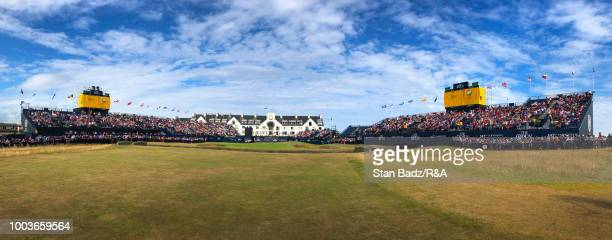 A course scenic view of the 18th hole during the third round of the 147th Open Championship at Carnoustie Golf Club on July 21 2018 in Angus Scotland