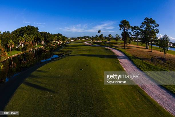Course scenic view of the 18th hole tee box at Atlantic Beach Country Club, venue of the 2016 Web.com Tour Championship, on August 17, 2016 in...