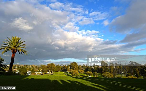 Course scenic view of the first hole during the third round of the Genesis Open at Riviera Country Club on February 18, 2017 in Pacific Palisades,...