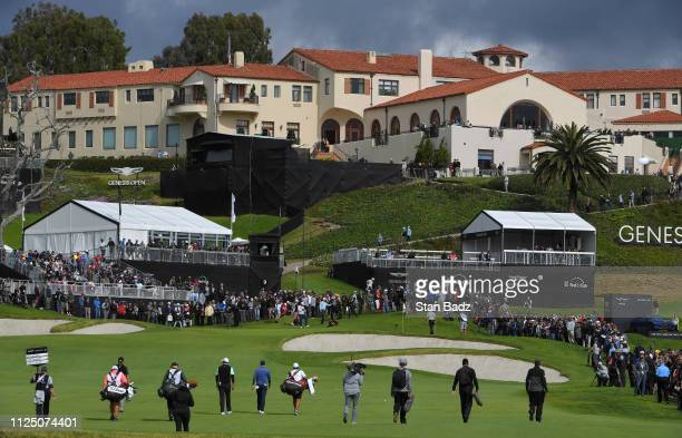 Course scenic view of the ninth hole during the continuation of the first round of the Genesis Open at Riviera Country Club on February 15, 2019 in...